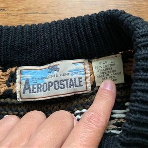 Aeropostale Sweaters - Black White and Tan Vintage Chunky Knit Sweater